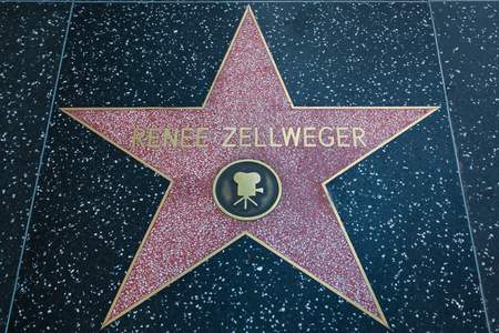 famous industries: HOLLYWOOD, CALIFORNIA - February 8 2015: Renee Zellwegers Hollywood Walk of Fame star on February 8, 2015 in Hollywood, CA.