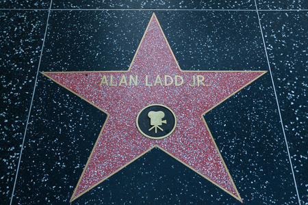 alan: HOLLYWOOD, CALIFORNIA - February 8 2015: Alan Ladd Jr.s Hollywood Walk of Fame star on February 8, 2015 in Hollywood, CA.