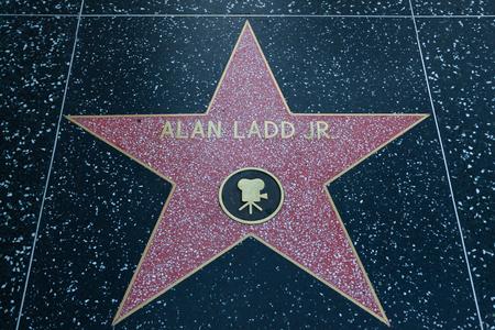 HOLLYWOOD, CALIFORNIA - February 8 2015: Alan Ladd Jr.s Hollywood Walk of Fame star on February 8, 2015 in Hollywood, CA.