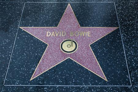 HOLLYWOOD, CALIFORNIA - February 8 2015: David Bowies Hollywood Walk of Fame star on February 8, 2015 in Hollywood, CA.