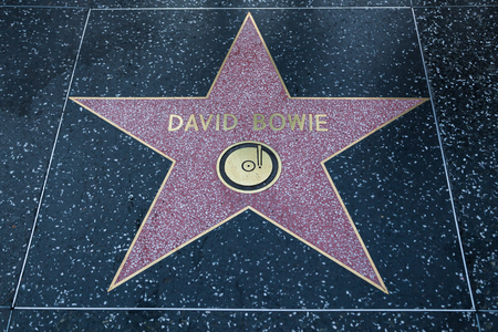 HOLLYWOOD, CALIFORNIA - February 8 2015: David Bowies Hollywood Walk of Fame star on February 8, 2015 in Hollywood, CA.
