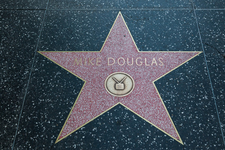 sidewalk talk: HOLLYWOOD, CALIFORNIA - February 8 2015: Mike Douglas Hollywood Walk of Fame star on February 8, 2015 in Hollywood, CA. Editorial