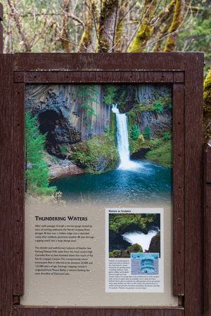 TOKETEE FALLS, OREGON - April 19, 2014:  An informational sign showing how Toketee Falls and the surrounding riverbed was created at Toketee Falls, OR on April 19, 2014.