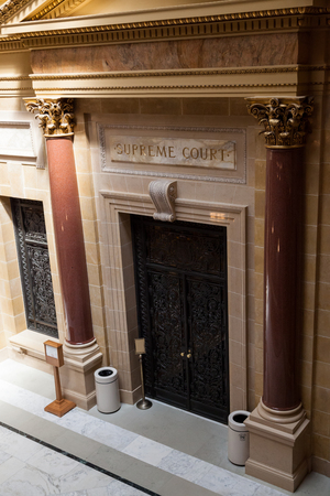 MADISON, WISCONSIN - May 10, 2014:  The entrance to the State Supreme Court in the capital building in Madison, WI on May 10, 2014. Editorial