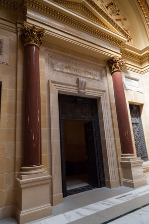 MADISON, WISCONSIN - May 10, 2014:  The entrance to the State Hearing Room in the capital building in Madison, WI on May 10, 2014.