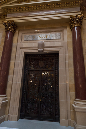 MADISON, WISCONSIN - May 10, 2014:  The entrance to the State Senate Room in the capital building in Madison, WI on May 10, 2014.