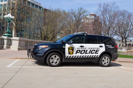 MADISON, WISCONSIN - May 10, 2014:  A black and white Wisconsin State Capitol Police vehicle parked at the capitol building in Madison, WI on May 10, 2014. Editorial