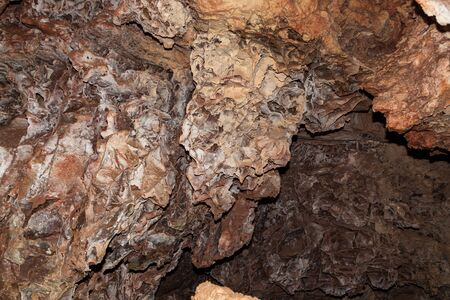 Detailed box work formations in brown and beige at Wind Cave National Park, South Dakota.