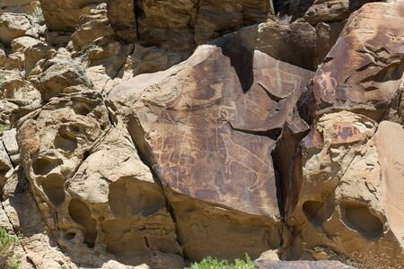 Strange shapes and figures that have been carved into the ancient sandstone rocks at Legend Rock State Petroglyph Site, Wyoming.