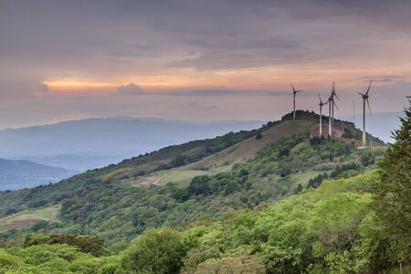 Wind farm located in the mountains surrounding the central valley in Costa Rica.