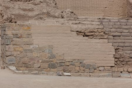 Mud brick and rock construction in Pachacamac, Lima, preserved due to the lack of rain in the desert south east of Lima.