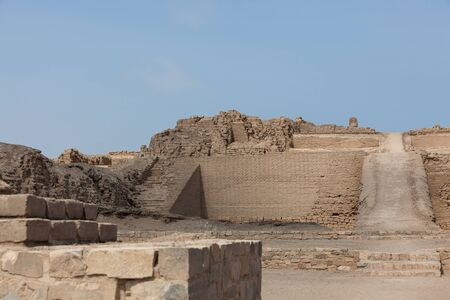 Entrance to the Temple of the Sun in Pachacamac archeological site, Southeast of Lima.