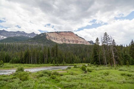 Calm Soda Butte Creek running through a open area and into a forest next to Baronette Peak and surrounding mountains in Yellowstone National Park, Wyoming.