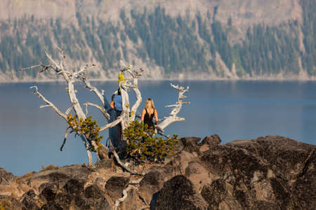 Two unidentifiable women stand on an old mostly dead pine tree that is growing on a rocky cliff overlooking Crater Lake in the late afternoon sunshine. 스톡 콘텐츠
