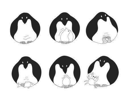 frozen fish: Set of penguins