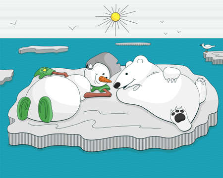floe: Snowman and bear tan on ice floe, drifting in the ocean