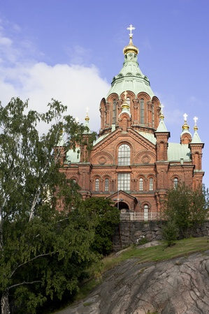 Uspesky Cathedral in Helsinki Stock Photo