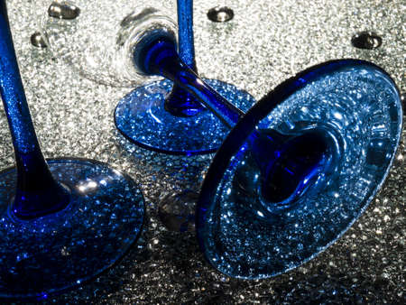 Wine glasses with dark-blue a leg on crystal glass Stock Photo - 12003609