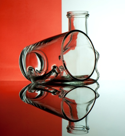 Glass goblets on a colored background abstract Stock Photo - 17468779