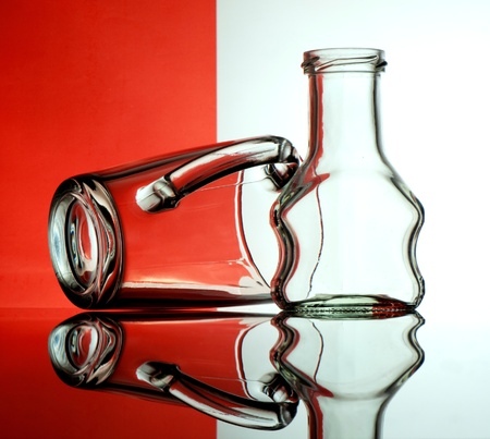 Glass goblets on a colored background abstract Stock Photo - 17468776