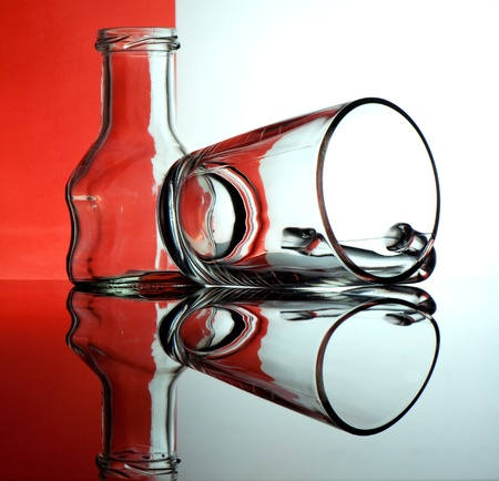 Glass goblets on a colored background abstract Stock Photo - 17468785