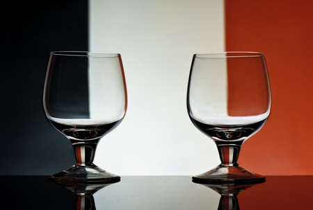 Glass goblets on a colored background abstract Stock Photo - 17468778