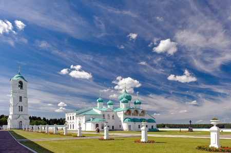 sacred trinity: Male Holy Trinity Monastery Svirsky view from the main gate  Stock Photo