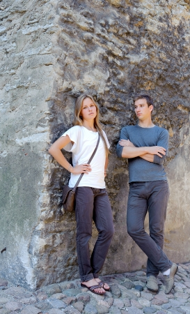 Young beautiful couple in the walls of the old fortress Stock Photo