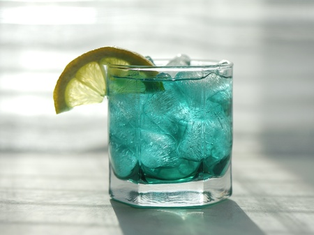 minty: Mint syrup with a slice of lemon and ice cubes