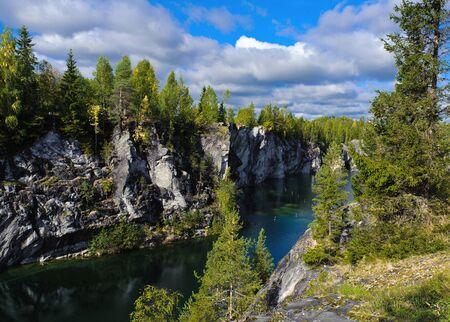 Famous beautiful marble quarry Ruskeala photo