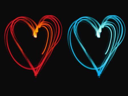 corazones azules: Jugando con ligth desenfoca corazones fr�os y calientes Foto de archivo