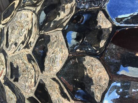Shiny Black Ceramic Garden Pot with Octagon Pattern