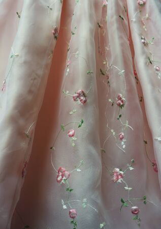 sheer: Pink Sheer Fabric with Embroidered Flowers