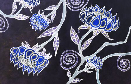 Watercolor Painting of Floral Patterns on a Black Background