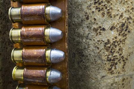 Detail of an Old West Gun Belt with Colt 45 Bullets