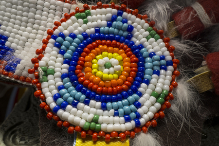 Native American Indian Beads with a Circular Star Pattern Banco de Imagens