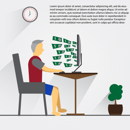 Man working with Personal Computer and get many money form internet all the time. In globalization era, its seem normally to work at home and management everything by one click.