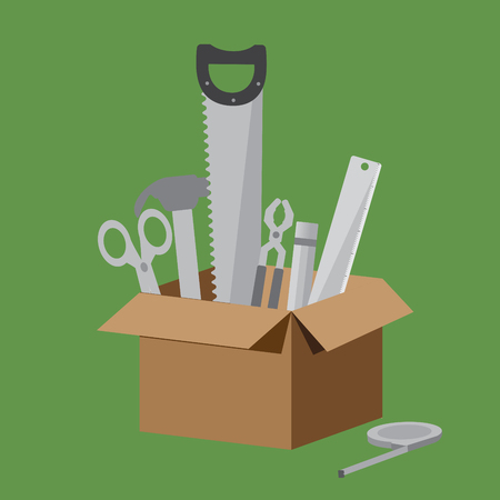 Brown Box of equipment collection on light green background. Include Scissors, Hammer, Saw, Pliers, Pencil, Ruler and Measuring Tape. For any career of craft and construction etc. engineer craftman or technician.