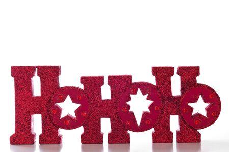 red glittery: Word magie HoHoHo in lettere scintillanti rosse; isolato su sfondo bianco.