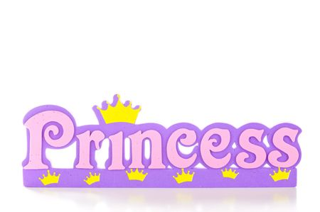 Word spells princess in pink and purple letters.