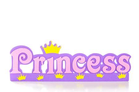 Word spreuken prinses in roze en paarse brieven.