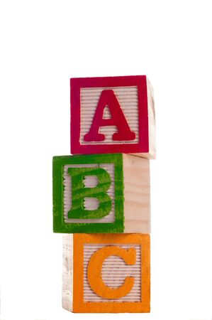 Block Letters that spell abc.  Isolated on white background. photo