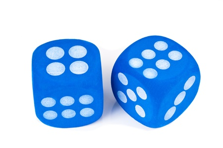 Two big blue fuzzy dice on white background. photo
