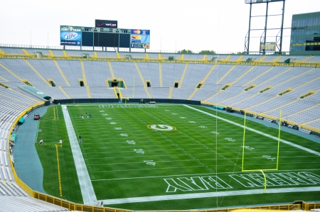 A view inside of Lambeau field in Green Bay Wisconsin