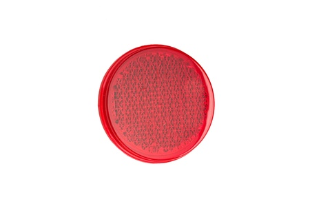 Red, blue, and yellow round reflectors isolated on white background  photo