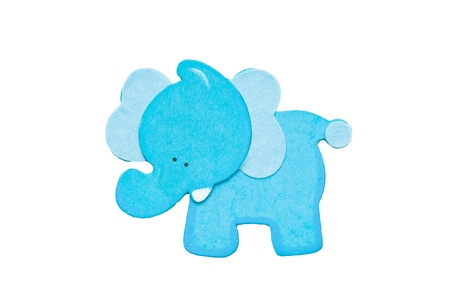 Blue elephant isolated on photo
