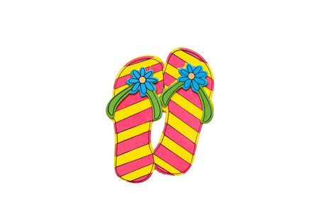 3d pink and yellow flip flops, isolated on white. photo