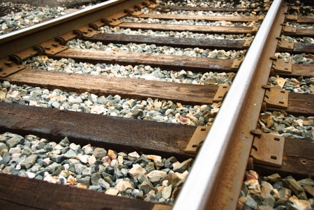 upclose: Railway tracks up-close on a sunny day.