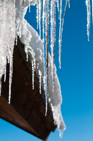 Closeup of icycles from a cedar roof Stock Photo