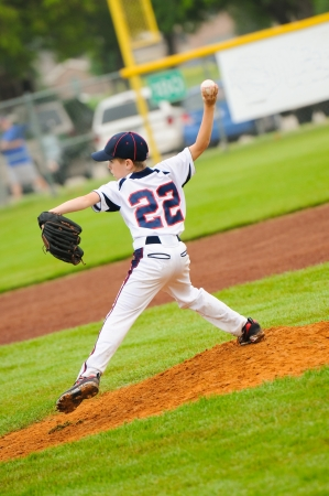 Little league baseball pitcher on the mound. Stock Photo